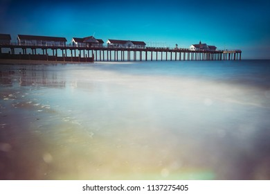 Long exposure of Southwold pier and sea on Suffolk coast
