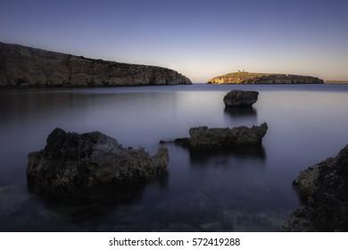 Long exposure of St Pauls island,Malta