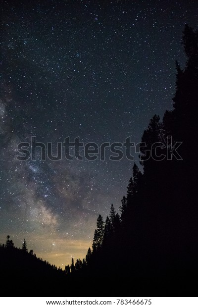 Long exposure of a starry night sky with purple Milky Way Galaxy stars, with a valley of tree silhouettes contrasting against the nebula