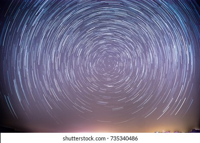 Long exposure stars trails with polaris in center