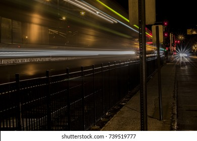 Long Exposure, Street Photography, Late night in NJ landscape with trails showing motion and the night city nature and train stations with blurred lines