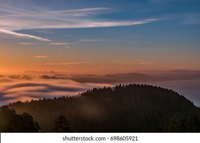 A Long Exposure Sunrise Through the Fog of the Bay Area