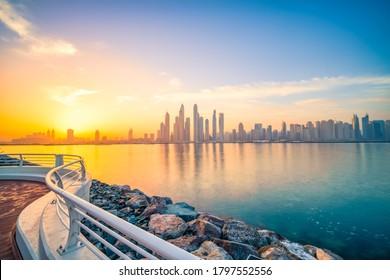 Long exposure sunrise view of Dubai marina. United Arab Emirates