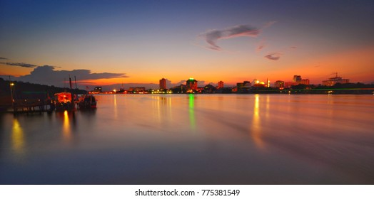 long exposure sunset of kuantan town near pahang river. soft focus n motion blur due to long exposure shot.