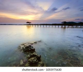 Long exposure of sunset at Mersing, Johor, Malaysia | Moment of Golden Hour