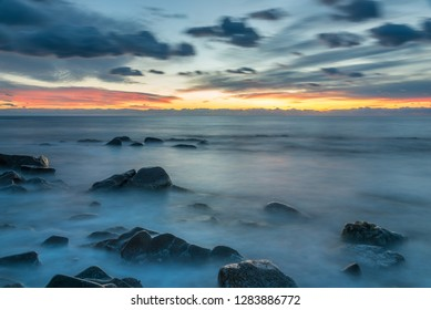 Long Exposure at Sunset on the Southern Italian Mediterranean Coast