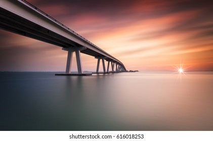Long Exposure Sunset at Sanibel Causeway, Fort Myers, Florida, USA
