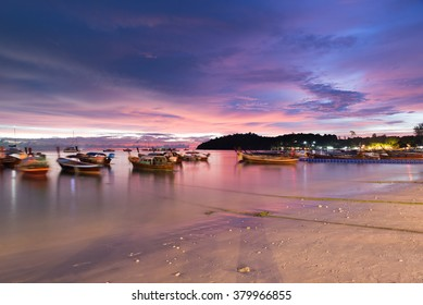 Long exposure sunset sky wave boat at Pattaya beach in Koh Lipe Island.Soft focus and motion blur due to long exposure shot