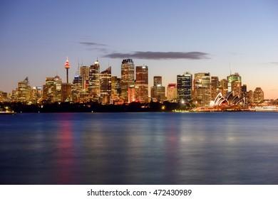 Long exposure Sydney City and Opera house NSW Australia 23 Aug 2016