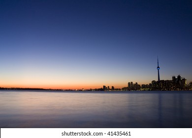 Long exposure of toronto skyline at night