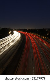 Long Exposure of Traffic at Dusk on the 5 Freeway in Los Angeles