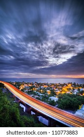 Long exposure, traffic and lights at Saint-Paul, Reunion island.
