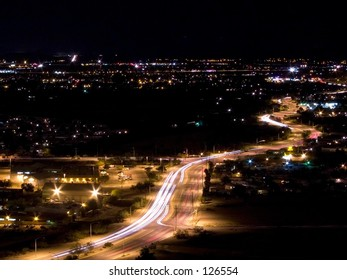 Long exposure of traffic at night in large city.