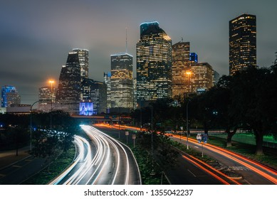 Long exposure of traffic on Allen Parkway and the Houston skyline at night, in Houston, Texas