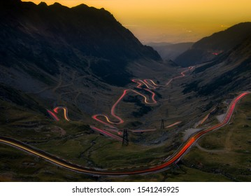 Long exposure with Transfagarasan mountain road from the Fagaras mountains. Crossing Carpathian mountains in Romania, Transfagarasan is one of the most spectacular mountain roads in the world.