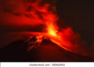 Long Exposure Of Tungurahua Volcano Explosion At Night, Ecuador, South America