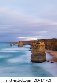 Long exposure view of 12 Apostles rock at Great Ocean Road, VIC, Australia in the morning.