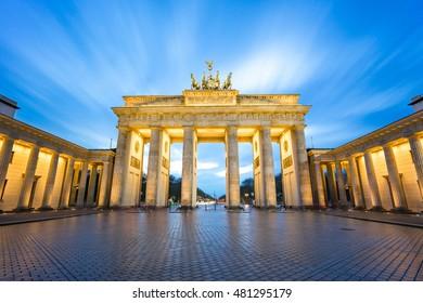 The long exposure view of Brandenburger Tor in Berlin, Germany.