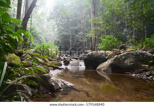 Long exposure of view hidden Ayer Putih waterfall at Taman Hutan Lagenda, Gunung Ledang, Johor. Image contain excessively noise/sharp or blur due to long exposure.