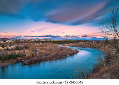 Long exposure view overlooking the Bow river valley