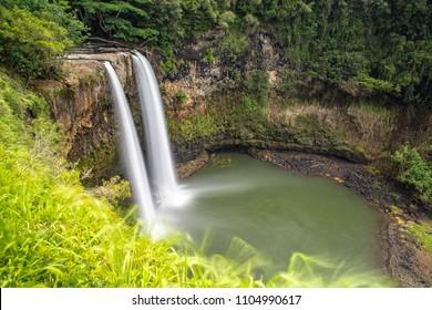 Long Exposure of Wailua Falls in Kauai, Hawaii