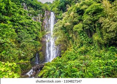 Long Exposure of Wailua Falls on the Road to Hana in Maui