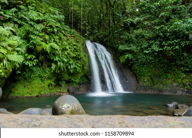 Long exposure of a waterfall in Guadeloupe