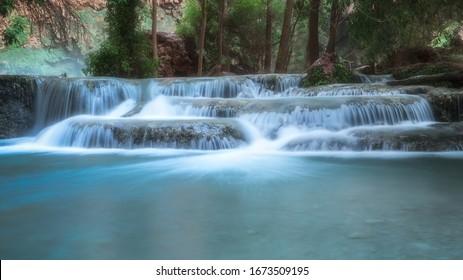 Long exposure waterfalls along the Havasu Creek in Havasupai, Arizona