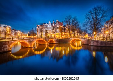 Long exposure at the well known keizersgracht canal intersection in Amsterdam