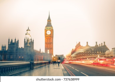 Long exposure of the Westminster bridge with big ben in the background at sunset, London England
