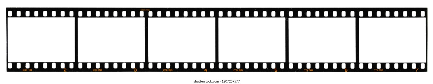 long film strip, 6 blank photo frames, free space for your pictures, real high-res 35mm film strip scan with signs of usage on white background