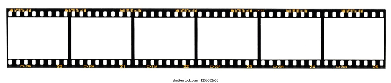long film strip, 6 blank photo frames, free space for your pictures, real high-res 35mm film strip scan with signs of usage on white background, no or empty movie strip, interesting border