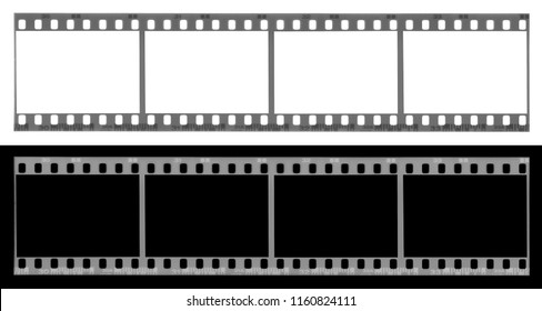 long film strip, blank photo frames, free space for your pictures, real high-res 35mm film strip scan with signs of usage on white and black background