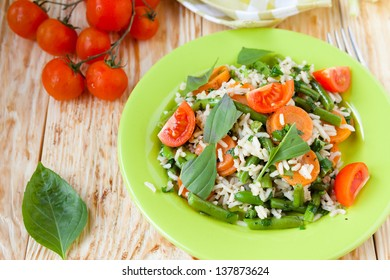 long grain rice with steamed vegetables, closeup