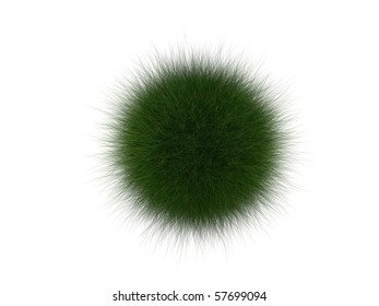 long grass ball on the white background