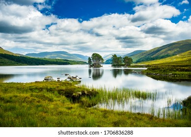 Long grass grows out of Scottish Highlands lake