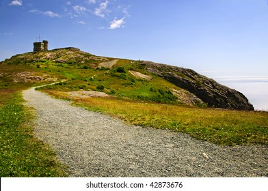Long gravel path to Cabot Tower on Signal Hill in Saint John's, Newfoundland