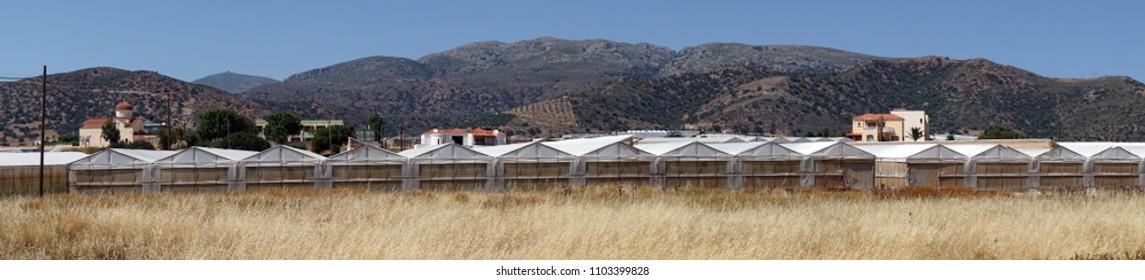 Long greenhouse near Kedrodasos in Krete island, Greece