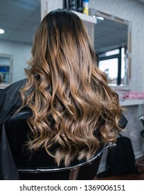 Long hair after Balayage treatment.
