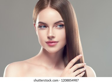 Long hair beautiful woman with healthy skin and beauty hairstyle cosmetic concept