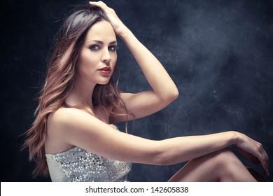 long hair beautiful young woman studio shot