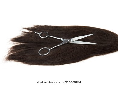long hair and clippers on white background