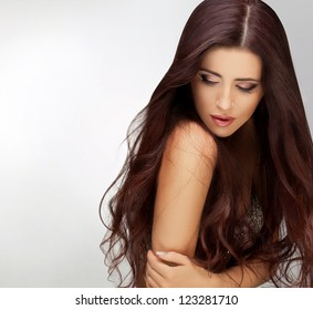 Long Hair. Portrait of Beautiful  Woman with Long Brown Hair. Good quality retouching.