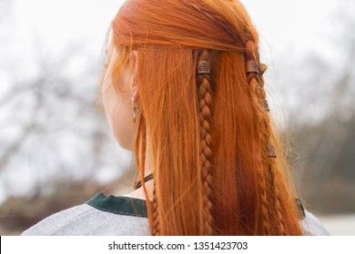 long hair redhead girl from the back