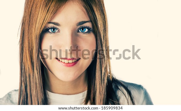 Long haired blonde closeup of a face colorized image