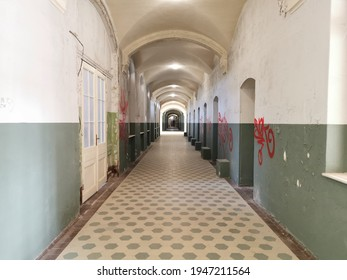 long hallway of an abandoned building in Beelitz-Heilstätten in Brandenburg, Germany.