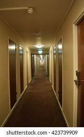 Long hallway with door