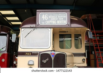 Long Hanborough, Oxfordshire, UK 10.08.2019 - Oxford Bus Museum and Morris Museum.  A display of buses, Morris cars and other forms of transport through the years.  AEG Regal Bus No 46