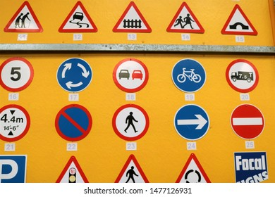 Long Hanborough, Oxfordshire, UK 10.08.2019 - Oxford Bus Museum and Morris Museum.  A display of buses, Morris cars and other forms of transport through the years.  Highway code signs on a wall