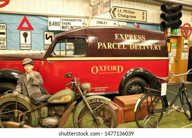 Long Hanborough, Oxfordshire, UK 10.08.2019 - Oxford Bus Museum and Morris Museum.  Buses, Morris cars and other forms of transport through the years.  Morris Express Parcel Delivery Van Oxford